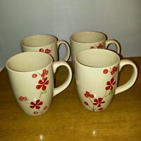 Pier 1 Imports Hand Painted Stoneware Coffee Mugs Cups Red Floral Flowers Set 4