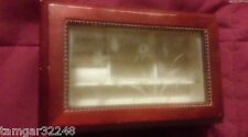 """Hinged Wood JEWELRY BOX 8"""" wide Ring Holder And Tray NICE"""