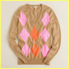 NWOT J.CREW TAN PINK ORANGE CASHMERE CLASH ARGYLE V-NECK SWEATER PULLOVER XS