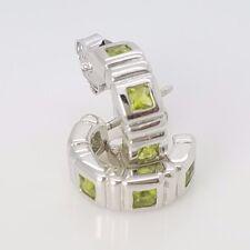 New Sterling Silver 4 Stone Bezel Set CZ Lime Green Mini Half Huggie Earrings *