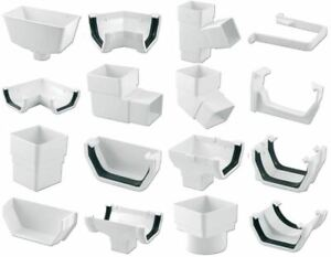 White Square Floplast 114mm Gutter and 65mm Pipe Fittings Selection of Fittings