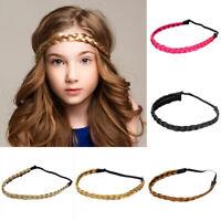 Women's Girls Braided Faux Wig Elastic Rope Plaited Hair Hoop Headband Band