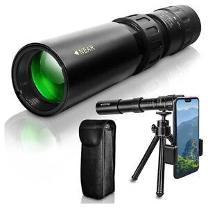 4K 10-300X40mm Zoom Monocular Telescope w/ Tripod Clip Portable Night Vision