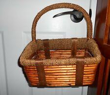 Wicker Basket Decorative Sturdy Home Decor Leather Straps Display Crafts Storage