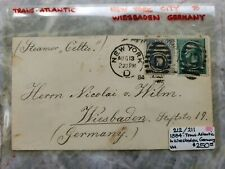 1894 Celtic Steamer Trans Atlantic Postal Cover to Weisbaden Germany