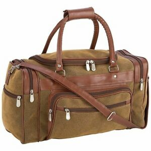"""DUFFLE TOTE BAG 17"""" Brown Vegan Leather Gym Travel Carry On Mens Satchel Luggage"""