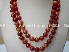Natural Beautiful 8mm Red Striped Agate Onyx Gemstone Bead Necklace 36'' AAA