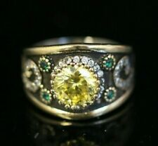925 Sterling Silver 925 Peridot Vintage Turkish Handmade Ring 6-12