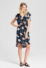 NWT Merona Black / Pink Floral Flutter Sleeve Midi Dress Tie Back Neck Size XS