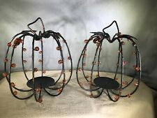 "2 Pumpkin Candle Holders for Autumn Thanksgiving Decorating 10"" Tall Metal Beads"