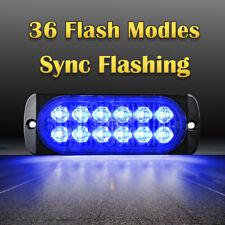 12 LED Car Truck Emergency Hazard Warning Beacon 36W Strobe Light Bar Grill Blue