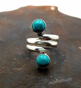 Silver Adjustable Boho Ring Gemstones Turquoise Bohemian Ethnic Jewellery gift