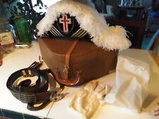 RARE Vintage Masonic Ceremonial Hat, Belt w/Buckle, Gloves and Hat Box