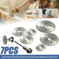 7Pcs HSS Circular Saw Blades Wood Cutting Discs Mandrel Drill 22-50mm For R CL