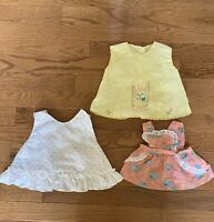 3 Vintage Baby Girl Clothes Pinafores And Shirt Unbranded Size?