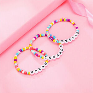 Children Kids Summer Beach Beaded Word Bracelet Alphabet Pony Beads Cuff Bangle