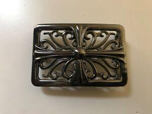 Solid,rectangular,sculpted men's Gothic Cross trophy belt buckle.Hematite plait.