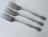 National NST8 3 Dinner Forks Vtg Korea Scrolls Leaves Sleek Stainless Flatware