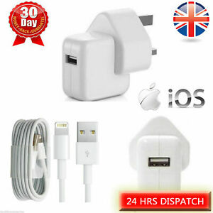 12W Mains Wall Charger Plug & USB Sync Cable for iPhone 11 8 X XS XR 7 6 5 ipad