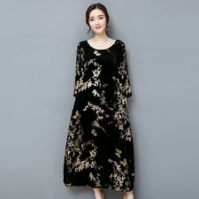 Lady Vintage Velvet Retro Dress Long Casual Floral Long Sleeve Chinese