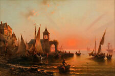 Hand painted Oil painting Classical landscape seascape sail boats by dusk ocean