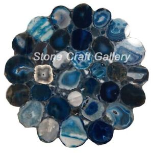 """18"""" Agate Table Top Multi Natural stones Handmade Work Home Decor"""