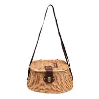 Wicker Creel Fish Basket Vintage Fisherman Traps Pouch Cage Tackle Case Bag