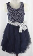 Bonnie Jean Girls Navy Silver Sparkle Sleeveless Party Holiday Dress Sz 8