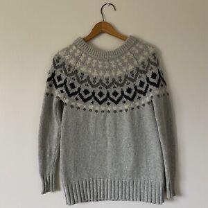 XXS J.CREW Womans Gray Wool Blend Fair Isle Sweater
