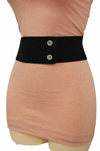 Women Hip High Waist Wide Elastic Faux Suede Black Fabric Fashion Belt Size S M
