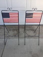 Rare Metal Outdoor Garden Decorative American Flag Pot Foldable 1 Holder Stand