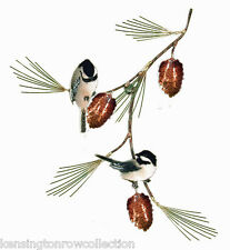 WALL ART - TWO CHICKADEES ON PINE BRANCH METAL WALL SCULPTURE - WALL DECOR