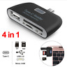 4 in 1 Type-C Card Reader USB/TF/SD OTG HUB Adapter For Samsung S8 LG G6 Macbook