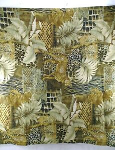 "Set 3 Exotic Animal Print Cheetah Green Gold Brown Tan Curtain Panels 42x72"""