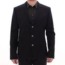 NEW $1450 DOLCE & GABBANA Blazer Jacket Black Wool Slim Fit Sport Coat IT52/US42
