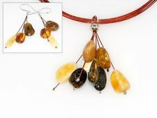 925 Sterling Silver Baltic Amber Pendant and Earrings  Polish Amber Jewellery