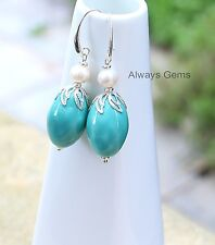 Freshwater Pearl and Teal Blue Porcelain Earrings silver plated elegant ear wire