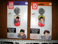 2 x 1D ONE DIRECTION ZAYN + LOUIS FASCIMILE AUTOGRAPH DOG TAG & CHAIN a2t25d