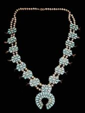 Squash Blossom Necklace native American sterling Silver 925 Turquoise