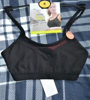 M&S MEDIUM IMPACT NON WIRED SPORTS BRA CROP TOP REVERSIBLE SIZE 6 - NEW
