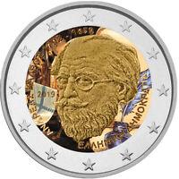 2 Euro Gedenkmünze Griechenland 2019 Kalvos coloriert mit Farbe / Farbmünze    2