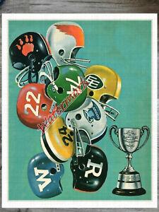 Vintage 1950's CFL Helmets REPRINT Poster Artwork Color 8 X 10 Photo Picture