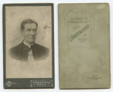 CDV PORTRAIT BY DOBRZELEWSKI, MAN W/ CAP? COAT, KOLO, POLAND, GRAPHIC BACK