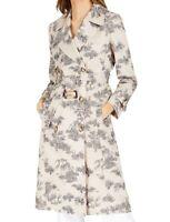 INC Women's Jacket Beige Size Medium M Belted Notch Collar Trench Coat $149 #310