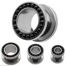 "PAIR-Chain Black On Steel Screw On Tunnels 16mm/5/8"" Gauge Body Jewelry"