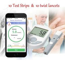 A NEW Bluetooth 4.0 Glucose Cholesterol 2in1 Meter monitor W APP for IOS Android