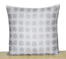 "Silver Gold Floral Indian Hand Block Printed 16"" Cushion Cover Pillow Case Cover"