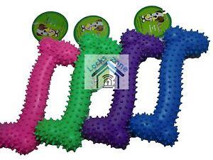 Dog Rubber Bone Shaped 15CM Dental  Play Fun Toy Chew Pink Blue Purple or Green