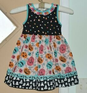 Matilda Jane Wonderment Pumpkin Carve Dress Girls Sz 4 Black Polka NWOT