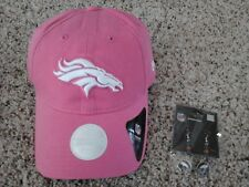 Denver Broncos New Era Women's Pink Hat & Beaded Helmet Earrings